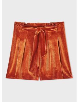 Rust Tie Front Velvet Shorts by Miss Selfridge