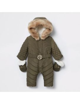 Baby Khaki Ri Padded Snowsuit by River Island