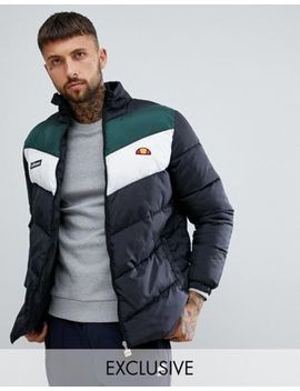 Ellesse Chevron Puffer Jacket In Black by Ellesse