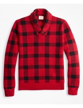 Merino Wool Blend Buffalo Plaid Shawl Collar Sweater by Brooks Brothers