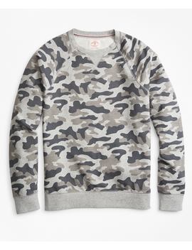 French Terry Camo Crewneck Sweatshirt by Brooks Brothers