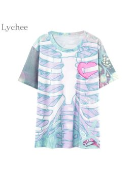 Lychee Gothic Punk Women T Shirt Skull Bone Heart Print Casual Loose Short Sleeve T Shirt Tee Top Female by Lychee