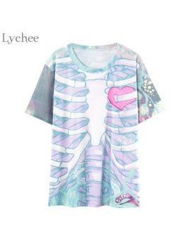 Lychee Gothic Punk Women T Shirt Skull Bone Heart Print Casual Loose Short Sleeve T Shirt Tee Top Female by Lychee