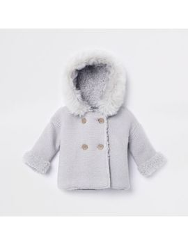 Baby Grey Faux Fur Knit Hooded Cardigan by River Island