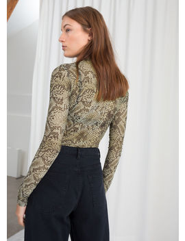 Snake Print Mesh Top by & Other Stories