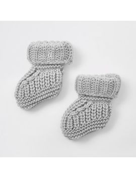 Baby Grey Knitted Boot Socks by River Island