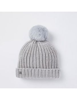 Baby Grey Knit Bobble Beanie Hat by River Island