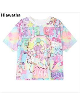 Hiawatha Women Harajuku Letters Printed T Shirts Casual Loose Character Short Sleeve T Shirt Gilr College Style Tops T2452 by Hiawatha