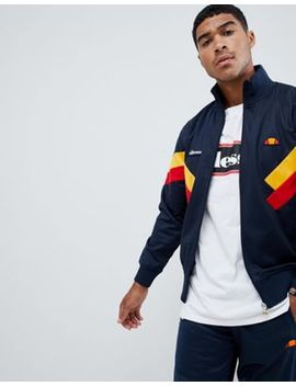 Ellesse Chierroni Chevron Panel Track Jacket In Navy by Ellesse