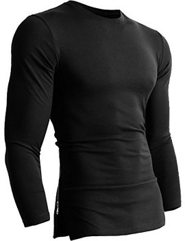 Mens Zipper Hipster T Shirts Long Sleeve Longline Side Crewneck Casual Tee by Hat And Beyond