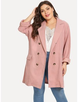 Plus Solid Double Breasted Blazer by Sheinside