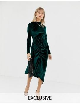 Reclaimed Vintage Inspired Midi Velvet Dress With Ruched Hem by Reclaimed Vintage