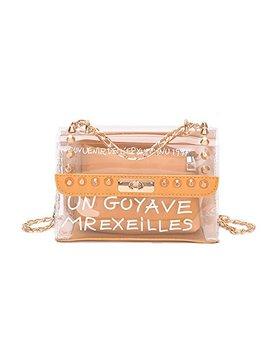 Handbags Women's Crossbody Bags Clear Bag Set Rivet Shoulder Messenger Bags Yellow B03 by Kokoreva