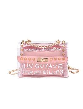 Handbags Women's Crossbody Bags Clear Bag Set Rivet Shoulder Messenger Bags Pink B03 by Kokoreva