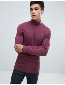 Asos Design   T Shirt Moulant à Manches Longues Et Col Roulé   Violet by Asos Design