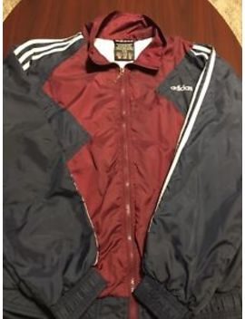 Vintage Adidas Full Zip Maroon Navy Blue Mens Windbreaker Jacket Small S by Adidas
