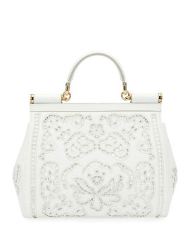 Miss Sicily Lambskin Lace Satchel Bag by Dolce & Gabbana