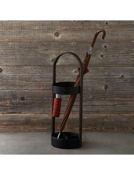 Hub Umbrella Stand Black & Walnut by Williams   Sonoma