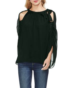 Cold Shoulder Bow Neck Top by Vince Camuto