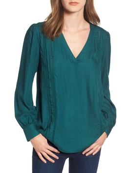 Lace Stripe V Neck Blouse by Hinge