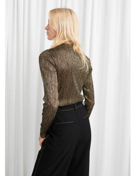 Metallic Plissé Pleated Top by & Other Stories