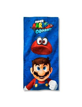 Super Mario Beach Towel Blue And Red   Nickelodeon by Nickelodeon