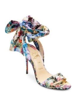 Sandale Du Desert 100 Floral Satin Bow Sandals by Christian Louboutin