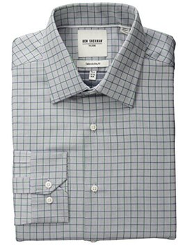 Ben Sherman Men's Slim Fit Twill Check Spread Collar Dress Shirt by Ben+Sherman