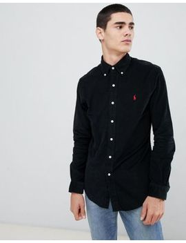 Polo Ralph Lauren Slim Fit Fine Cord Shirt Player Logo Button Down In Black by Polo Ralph Lauren