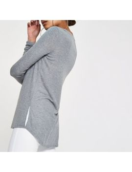 Grey  Scoop Neck Ruched Sleeve T Shirt by River Island