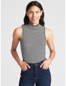 Featherweight Stripe Ribbed Sleeveless Mockneck Top by Gap