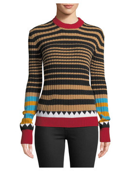 Camello Multi Striped Crewneck Wool Sweater by Double J