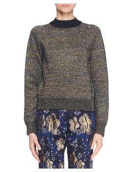 Crewneck Long Sleeve Metallic Knit Sweater by Dries Van Noten