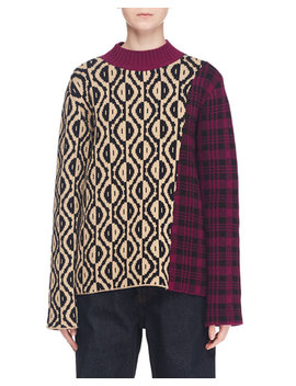 Spot Plaid Intarsia Crewneck Sweater by Dries Van Noten