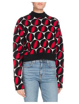 Crewneck Long Sleeve Lightning Bolt Pullover Sweater by Proenza Schouler