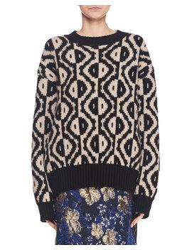 Spot Intarsia Crewneck Long Sleeve Merino Wool Blend Sweater by Dries Van Noten