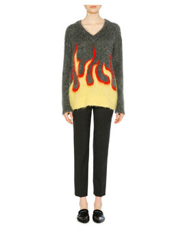 Mohair Blend Flame Intarsia V Neck Sweater by Prada