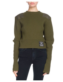 Pswl Crewneck Long Sleeve Cropped Ribbed Wool Blend Sweater W/ Patches by Proenza Schouler