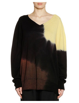 V Neck Long Sleeve Tie Dye Wool Knit Sweater by Marni