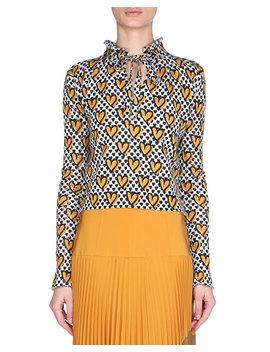 Heart Print Tie Neck Mohair Blend Sweater by Fendi