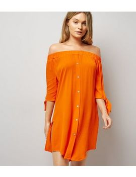 Orange Bardot Neck Beach Dress by New Look