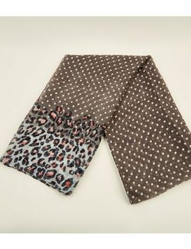 Grey Leopard And Spot Print Scarf by New Look