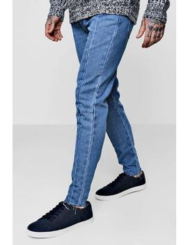 Skinny Fit Seam Detail Jeans With Raw Hem by Boohoo