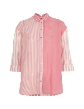 Pink Mixed Stripe Print Tie Back Shirt by River Island