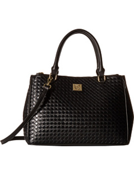 Weave Double Top Zip Satchel by Anne Klein
