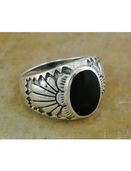 Thick Mens .925 Sterling Silver Onyx Ring Size 10  Style# R1500 by Unbranded