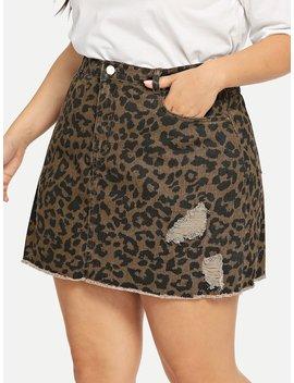 Plus Leopard Print Raw Hem Ripped Denim Skirt by Shein