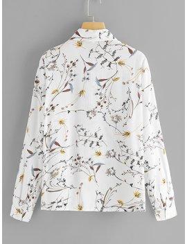 Plus Floral Print Blouse by Sheinside