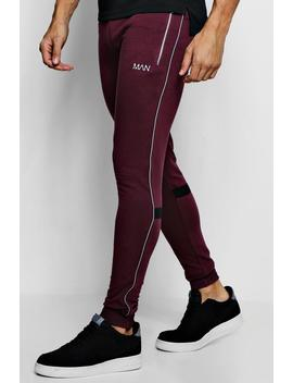 Muscle Fit Jogger With Reflective Piping by Boohoo Man