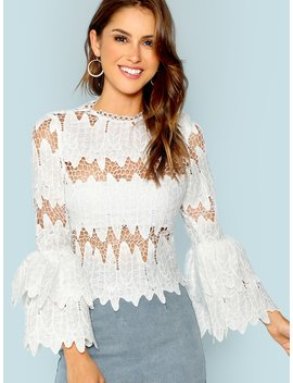 Tiered Ruffle Sleeve Eyelet Lace Blouse by Shein